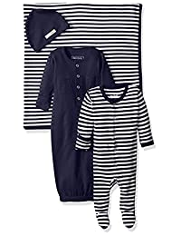 L'ovedbaby unisex-baby Baby Organic Footed Overall, Gown, Blanket, and Hat Gift Set