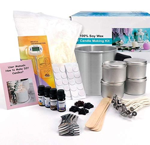 Candle Making Kit – Easy to Make Colored Candle Soy Wax Kit Include Wax, Rich Scents, Dyes, Wicks, Tins & More