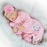 NPKDOLLS Reborn Newborn Baby Realike Doll Handmade Soft Silicone 22inch 55cm Magnetic Lovely Lifelike Cute Lovely pink sleeping Baby