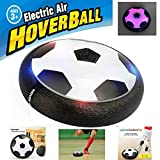 Kids Toys Air Power Soccer Disk Indoor Outdoor Hover Soccer Ball Game with LED Lights Training Football With Parents Game (Black)