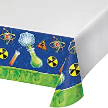 "Creative Converting 318143 Border Print Plastic Tablecover, 54 x 102"", Mad Scientist"