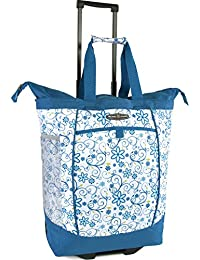 Large Rolling Shopper Tote Bag, Blue Daisy