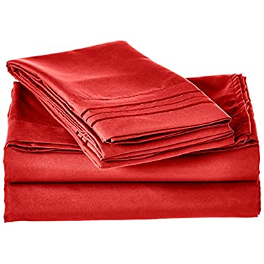 Elegant Comfort 1500 Thread Count Egyptian Quality 4-Piece Bed Sheet Sets with Deep Pockets, Queen, Red