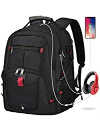 Laptop Backpack 17 Inch Waterproof Business Travel Backpack Large Anti Theft College School Backpacks with USB Charging Port Hiking Backpack for Women Men Black