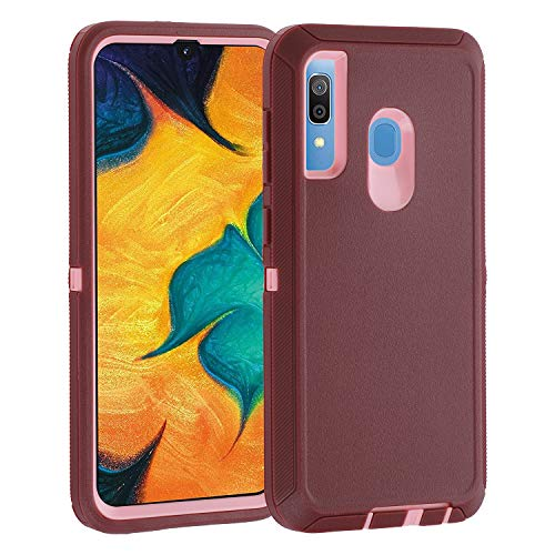 smartelf for Samsung Galaxy A30 Case A20 Heavy Duty Shockproof Drop Protection Dual Layer Protective Phone Cover for Galaxy A20/A30-Purple/Pink