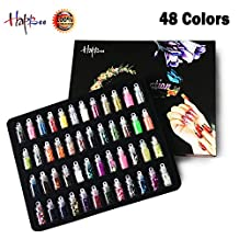Happlee 3D Nail Art Decoration Mini Bottles Nail Glitter Powder, New Nail Design with Sequin Rhinestones Powder, Richest Styles Nail Stickers Set for Art Project, Scrapbooking, Face, Nail, Eye Art, DIY Craft