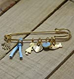 "Golden Baby Boy 2.5"" Safety Pin Brooch with"