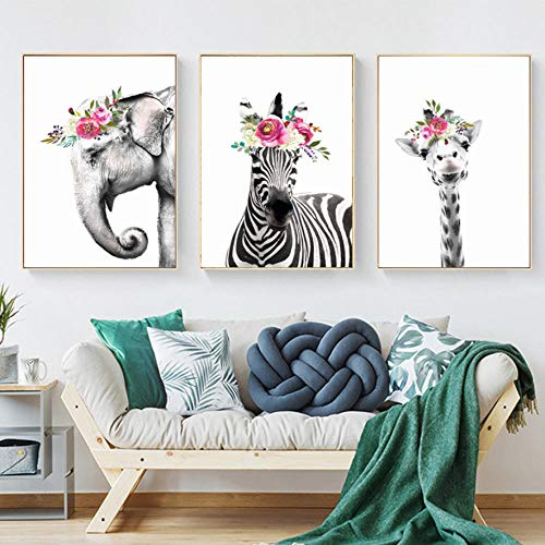 Triptico Lienzo Arte Mural 3 Piezas Jirafa Elefante Cebra Flores Creativo Lienzo Pintura Al Oleo Sala De Estar Dormitorio Triptico Cuadro Moderno Colgante Imagen-C2
