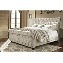 Ashley Furniture Signature Design - Willenburg King/Cal King Upholstered Headboard - Component Piece - Tan Linen