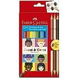 Lápis de Cor Ecolápis Caras & Cores 12 Cores + 6 Tons de Pele, Faber-Castell