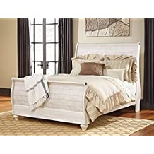 Signature Design Willowton Whitewash Queen Sleigh Bed by Ashley