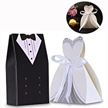 Cisixin 100Pcs Tuxedo Dress Groom Bridal Wedding Party Favor Boxes Ribbon Box Candy Gift (50 Bride & 50 Groom)