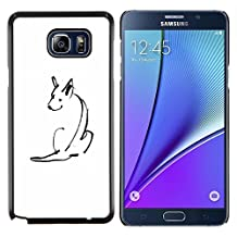 Planetar® ( Minimalist Pen Drawing Skull White ) Samsung Galaxy Note 5 5th N9200 Hard Printing Protective Cover Protector Sleeve Shell Case Cover