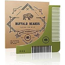 The Ultimate Beard Shaping Tool - Groom Guide Stencil from Buffalo Beards - with Beard Brush, Beard Comb, Beard Shaper Template and Guide