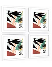 ArtbyHannah 10x10 Inch 4 Panels Wall Art Framed Poster Picture Frame Collage Set with Mat Modern Abstract Wall Art Décor with Tropical Botanical Plant Prints for Gallery Wall Kit