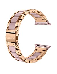 For Apple Watch Band, Wearlizer Stainless Steel Metal iWatch Straps Replacement Strap Bracelet Wristband for iWatch Series 1 / 2 / 3 - 38mm Rose Gold
