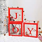 Christmas Decorations Large Red Transparent Joy Box Joy Blocks Decorations for Holiday Party Decorations, Home Decor, Fireplace Decor by QIFU