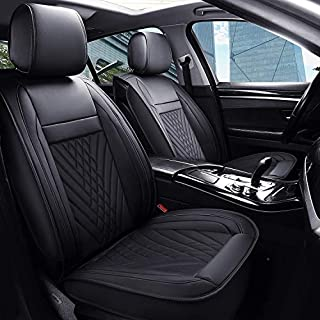 PLTCAT 5 Car Seat Covers Full Set with Waterproof Leather, Universal Fit for Most Sedan SUV (Black)
