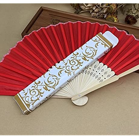 Red 100 Pcs Lot Printing Fans In Gold Or Silver Gift Box Hand Held Fabric Fans Wedding Decor