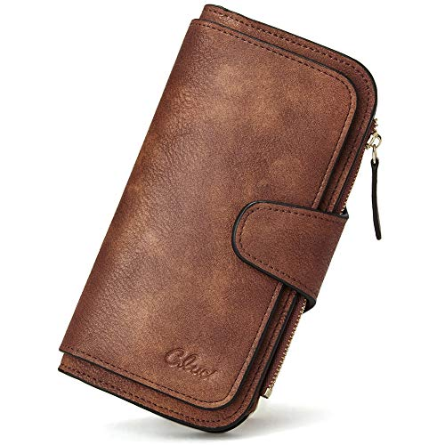 CLUCI Women Wallet Soft Leather Designer Trifold Multi Card Organizer Lady Clutch