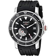 Jiusko Mens 24 Jewel Automatic Deep Dive Watch - 300m Scuba - Sapphire - Day Date - Black Dial - Black Rubber Strap - 75LSB02