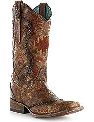 Corral Womens Cognac Ethnic Pattern Boot