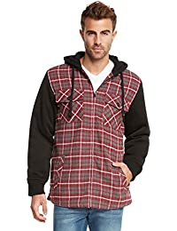 Essentials Sherpa Lined Plaid Flannel Hoodie Jacket