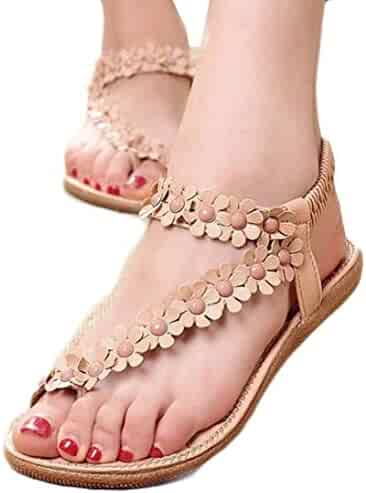 fda278217 Bolayu Women Summer Fashion Bohemia Sweet Beaded Clip Toe Beach Sandals  Shoes