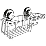 Gecko-Loc Shower Combo Caddy w Suction Cups Stainless Steel Shampoo Conditioner Holder Deep Storage Basket and Shelf - Chrome …