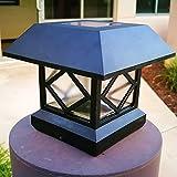 Outdoor Post Lights Sogrand 2pcs-Pack,Solar Post Lights,Fits 5 Post Sizes with Adaptors Black Vinyl Bright Sturdy and Big,Solar Lights Outdoor,Post Light,Solar Lamp Post