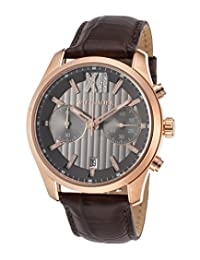 Wittnauer Wn1016 Men's Chrono Brown Genuine Leather Gunmetal Dial Rose-Tone Ss Watch