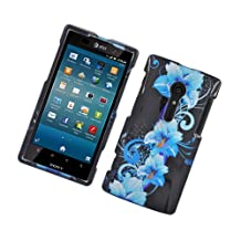 Eagle Cell PISONY28IG2D169 Stylish Hard Snap-On Protective Case for Sony Xperia ion, Retail Packaging, Four Blue Flowers