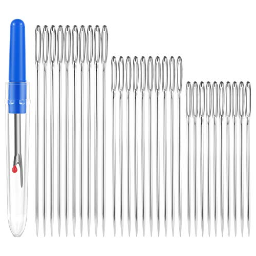 30 Large Eye Stitching Needles with a Wire
