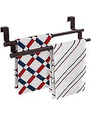 Towel Rack Over The Door Towel Rack Adjustable Double Towel Bar Holders Over The Cabinet Door Organizer for Kitchen, Stainless Steel