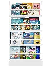 Kids Boekenkast Houten Boek Opslag Kids Wit Boekenplank Vrijstaande Plank met 4 Tier Book Organizer voor Kinderen Kamer 58x12x110cm