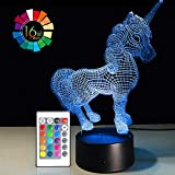 Night Light 3D Lamp 16 Colors Changing Nightlight Smart Touch & Remote Control 3D Night Light for Kids Gift Boy Girl Birthday Christmas Present Bedside Table Lamp (Unicorn 2)
