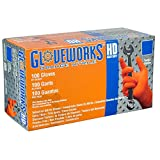 AMMEX - GWON44100-BX - Nitrile Gloves - Gloveworks - Disposable, Powder Free, 8 mil, Medium, Orange (Box of 100)