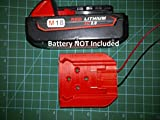 Mounts Milwaukee M18 Battery, Wired 16AWG, Power