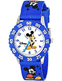 Kids' W000009 Mickey Mouse Stainless Steel Time Teacher Watch