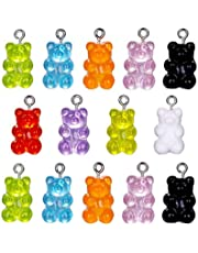 TOYANDONA 70pcs Colorful Gummy Little Bear Charms Pendants Bear Pendants Cute Colorful Resin Decorative DIY Bear Pendant Bear Keychains Adornment for Women Girl Children