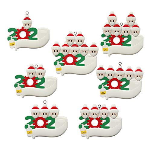 YueLife Personal Customized Christmas Tree Ornaments 2020 Quarantine Survivor Souvenirs Christmas Decoration Kit with Face Protection Device Family Creative Gifts (White, 4 Persons)