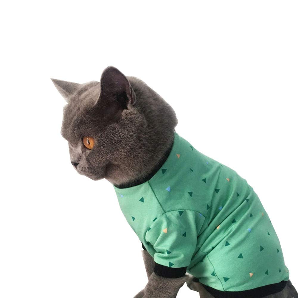 Medium Cat Clothes, Spring and Summer Thin Short Sleeves, Dog Clothes, Green Triangle Cat Clothes, Various Sizes (Size   M)