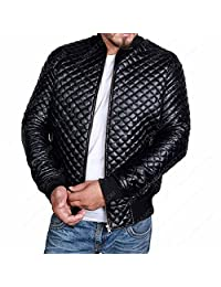 Mens Slim Fit Jacket - Black Quilted Stylish Biker Leather Motorcycle Bomber Coat