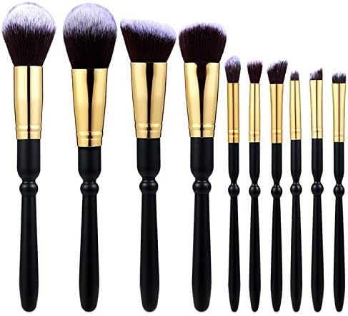10 Pcs Makeup Brushes Wooden Handle Gold Tube Brown Background White Peak Makeup Brush Set Tool pincel maquiagem