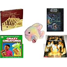 """Children's Gift Bundle - Ages 6-12 [5 Piece] - Classic Wood Folding Chess Set Game - Star Wars A New Hope 550 Piece Fully Interlocking Puzzle - Ty Beanie Buddy Coral The Fish 8"""" - Better Homes and G"""