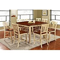 Furniture of America Lohman 9 Piece Dual-Tone Dining Table Set