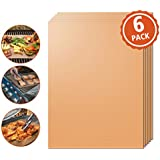 Kohi Copper Grill Mats Non Stick for Gas Grill Charcoal Grill, Heavy Duty Reusable Dishwasher Safe and Easy to Clean PFOA Free For Outdoor Grilling BBQ, Baking Pack of 6