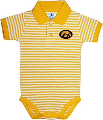 University of Iowa Hawkeyes Newborn Striped Polo Bodysuit