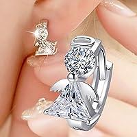 Phetmanee Shop 2017 New Pendant angel 925 sterling silver crystal earrings women