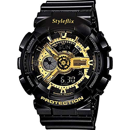 Styleflix Analog-Digital Multifunctional Stainless Steel Dual Time Dial Army Watches, Sport Watches for Boys and Mens(Golden Dial) (B07Q7YCTYR) Amazon Price History, Amazon Price Tracker